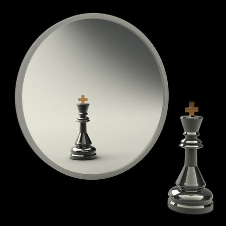 3d concept, reflected in the mirror of a king. white background photo