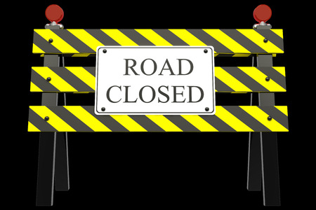 closure: Road Closed Sign. isolated on black background 3d illustration. high resolution