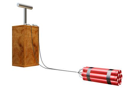 detonator: Old detonator wooden connected dynamite. isolated on white background. 3d