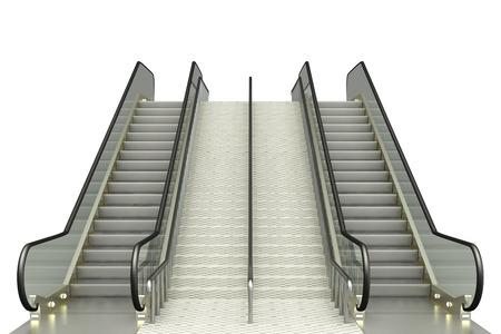 escalate: escalator. isolated on white background. 3d Stock Photo