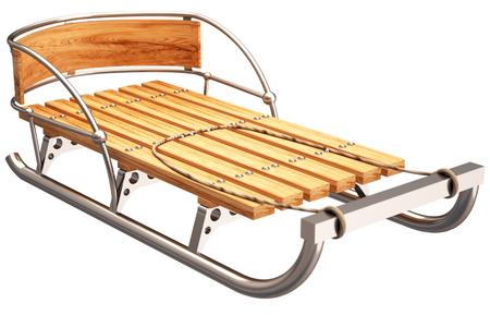toboggan: sledge. isolated on white background. 3d