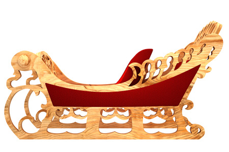 sleigh of Santa Claus, isolated on white background. 3d