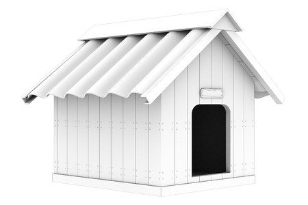 doghouse: doghouse. Isolated on white background. 3d Stock Photo