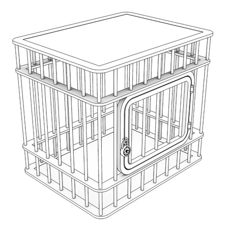 prison break: Steel cage. Isolated on white background. 3d Stock Photo