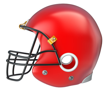 hardship: American football helmet isolated on a white background. 3d