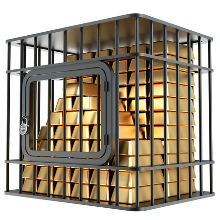 bullion: Steel cage and gold bullion. Isolated on white background. 3d