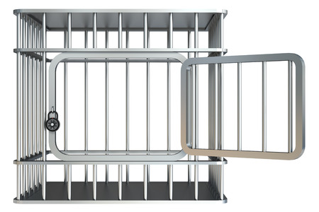 lockup: Steel cage. Isolated on white background. 3d Stock Photo