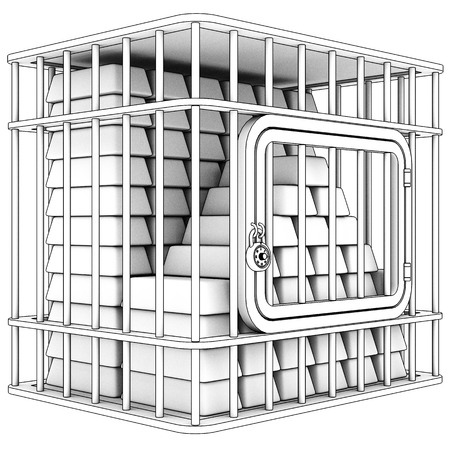 incarceration: Steel cage and gold bullion. Isolated on white background. 3d