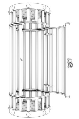 incarceration: Steel cage. Isolated on white background. 3d Stock Photo