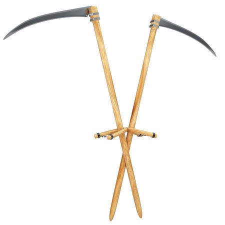 the scythe: guada�a. Aislado en el fondo blanco. 3d