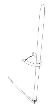 scythe: guadaña. Aislado en el fondo blanco. 3d