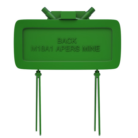 The M18A1 Claymore is a directional anti-personnel mine used by the U.S. military. Isolated on white background. 3d