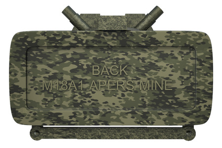 landmine: The M18A1 Claymore is a directional anti-personnel mine used by the U.S. military. Isolated on white background. 3d
