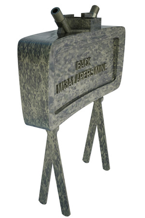 detecting: The M18A1 Claymore is a directional anti-personnel mine used by the U.S. military. Isolated on white background. 3d