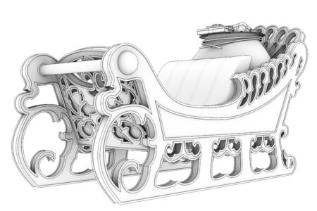 ice slide: sleigh of Santa Claus, isolated on white background. 3d
