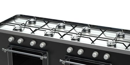 kitchen gas stove. isolated on white background. 3d Reklamní fotografie