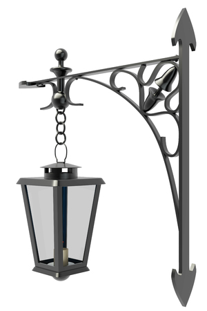 old street lamp. street lamppost. isolated white background. 3d