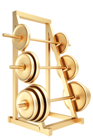 storing: Collection of gold objects. Golden Dumbbells on a rack for storing vultures. isolated on white background. 3d illustration.