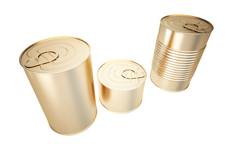 Golden closed bank of canned food. isolated on white background. 3d illustration.