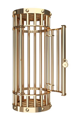 Collection of gold objects. A cage. isolated on white background. 3d illustration. Reklamní fotografie - 64774186