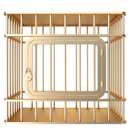 Collection of gold objects. A cage. isolated on white background. 3d illustration. Reklamní fotografie - 64774189