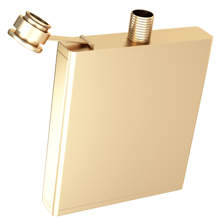 Golden Hip flask. isolated on white background. 3d illustration. Reklamní fotografie - 64774199