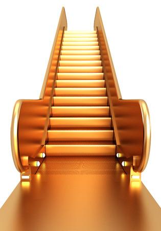 lift gate: Golden escalator. isolated on white background. 3d illustration.