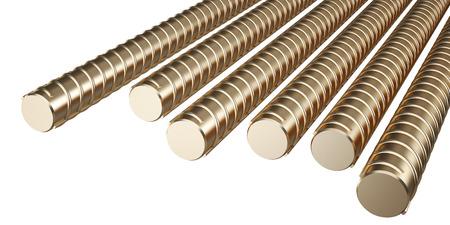 Golden reinforcing steel. isolated on white background. 3d illustration Stock Photo