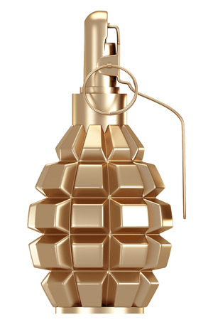 Golden grenade. isolated on white background. 3d illustration. Stok Fotoğraf - 64774113