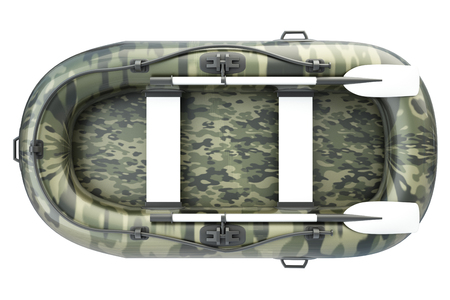 inflatable boat: Inflatable boat. isolated on white background. 3d illustration. Stock Photo