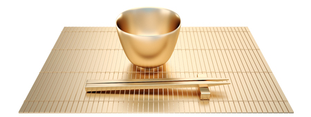 Collection of gold objects. Golden Empty rice bowl with chopsticks. isolated white background. 3D.