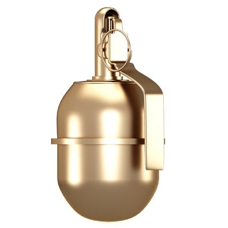Golden grenade. isolated on white background. 3d illustration.