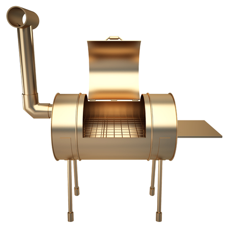 Collection of gold objects. kettle barbecue charcoal grill with folding metal lid for roasting, BBQ. isolated on white background. 3d illustration.