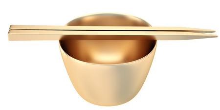 Collection of gold objects. Golden Empty rice bowl with chopsticks. isolated white background. 3D. Stok Fotoğraf - 64771961