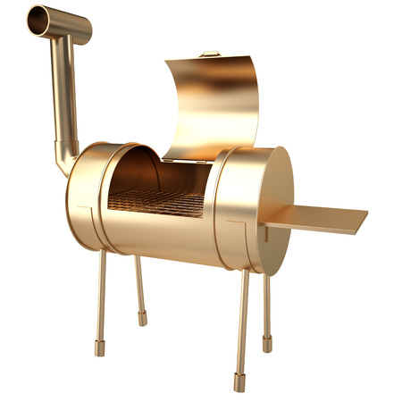 Collection of gold objects. kettle barbecue charcoal grill with folding metal lid for roasting, BBQ. isolated on white background. 3d illustration. Stok Fotoğraf - 64771963