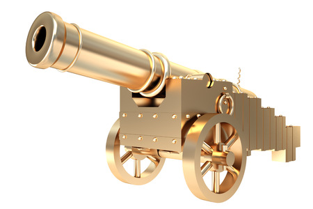 Collection of gold objects. Golden old cannon. isolated on white background. 3d illustration.