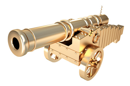 Collection of gold objects. Golden old cannon. isolated on white background. 3d illustration. Reklamní fotografie - 64771967