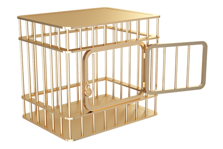 prison break: Collection of gold objects. A cage. isolated on white background. 3d illustration.
