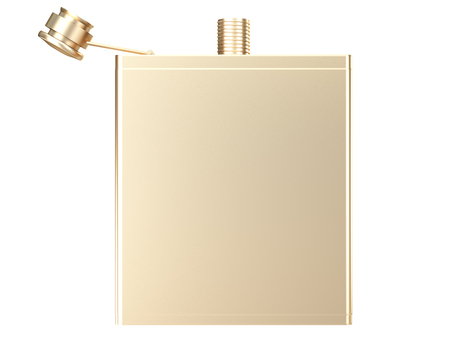 Golden Hip flask. isolated on white background. 3d illustration. Stok Fotoğraf - 64772486