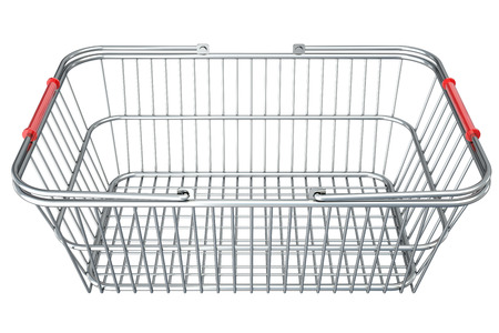 empty shopping cart. isolated on white background. 3d illustration.