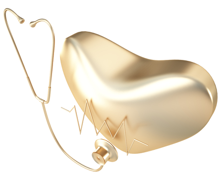 Golden heart and a stethoscope. isolated on white background. 3d illustration.