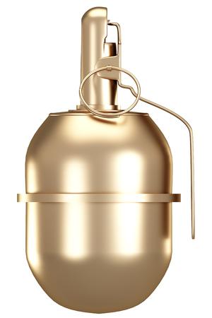 Golden grenade. isolated on white background. 3d illustration. Stok Fotoğraf - 64772534