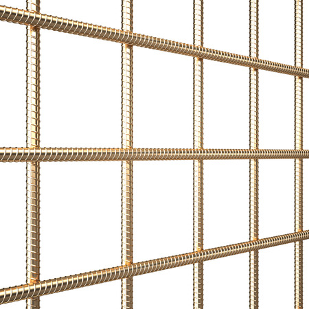 reinforcing: Golden reinforcing steel. isolated on white background. 3d illustration Stock Photo