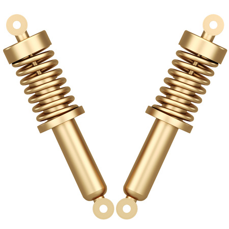 Golden shock absorber isolated on white background. 3D render. Stok Fotoğraf - 64772586
