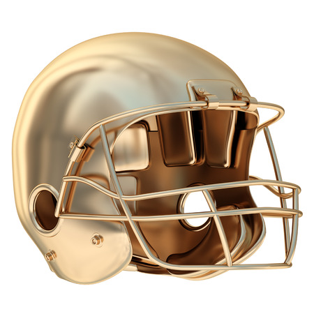 conquering adversity: Collection of gold objects. Golden football helmet. isolated on white background. 3d illustration.