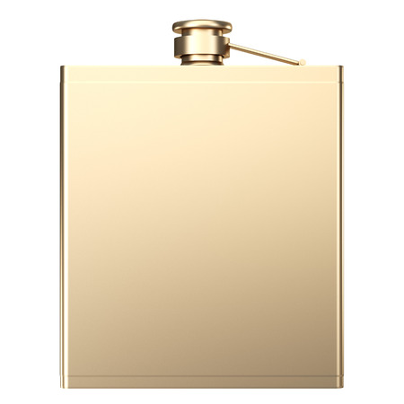 Golden Hip flask. isolated on white background. 3d illustration. Reklamní fotografie - 64774141