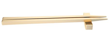Golden Chopsticks. isolated white background. 3D Stok Fotoğraf - 64774132