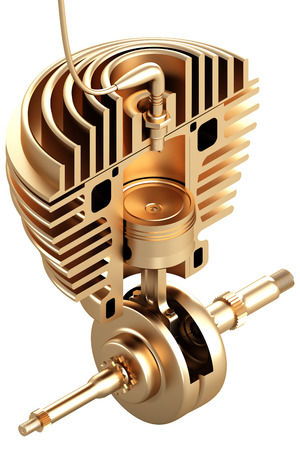 Golden motorcycle engine in incision. isolated on white background. 3d illustration.