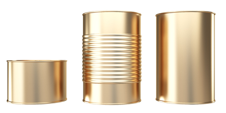 tinned goods: Golden closed bank of canned food. isolated on white background. 3d illustration.