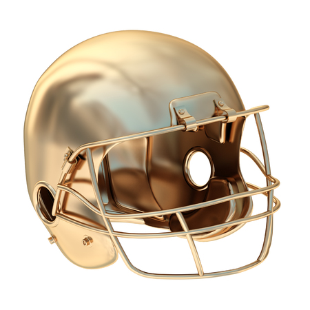 Collection of gold objects. Golden football helmet. isolated on white background. 3d illustration.